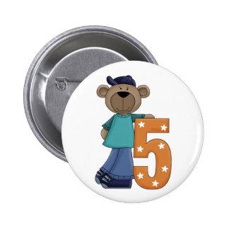 5th Birthday Bear Fun Pin Button