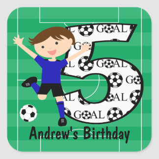 5th Birthday Blue and Black Soccer Goal and Name Square Sticker