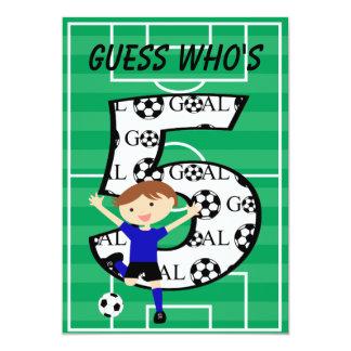 5th Birthday Blue and Black Soccer Goal Invitation