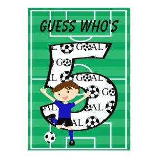 5th Birthday Blue and Black Soccer Goal v2 13 Cm X 18 Cm Invitation Card