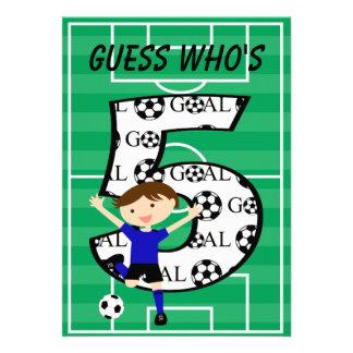 5th Birthday Blue and Black Soccer Goal v2 Invite