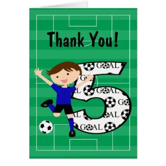 5th Birthday Blue and Black Soccer Thank You v2 Card