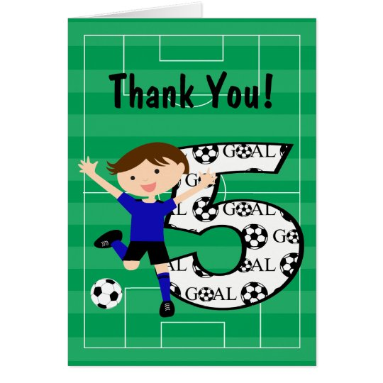 5th Birthday Blue and Black Soccer Thank You