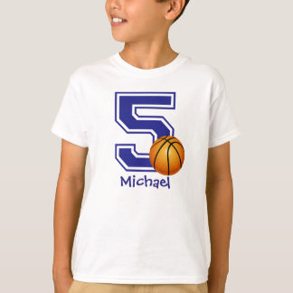 5th Birthday boy basketball personalized T-Shirt