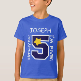 5th Birthday Boy BLUE One Year Custom Name A05A T-Shirt