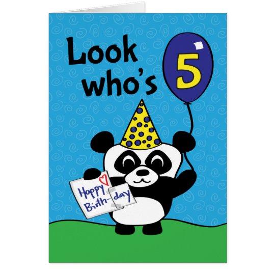 5th Birthday - Boy Panda with Balloon &