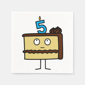 5th Birthday Cake with Candles Disposable Napkins