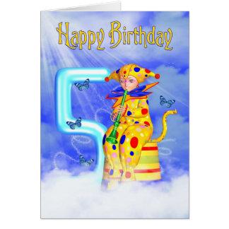 5th Birthday Card - Cute Little Pixie Clown