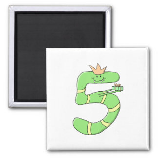 5th Birthday Cartoon, green. Square Magnet