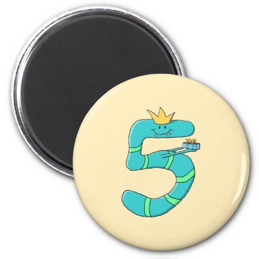 5th Birthday, Cartoon Monster in Teal. Magnet