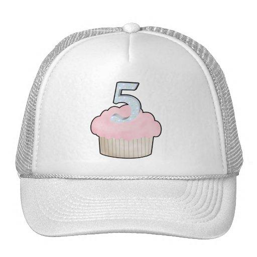 5th Birthday Cupcake Trucker Hats