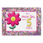 5th Birthday Cute Pink Flower and Smiley Card