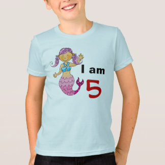 5th birthday gift for a girl, cute mermaid T-Shirt