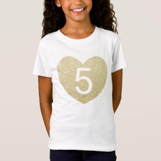 5th Birthday Girl Glitter heart Personalised T-Shirt