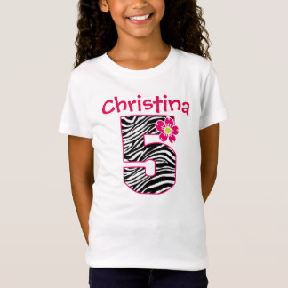5th Birthday Girl Hot Pink & black zebra T-Shirt