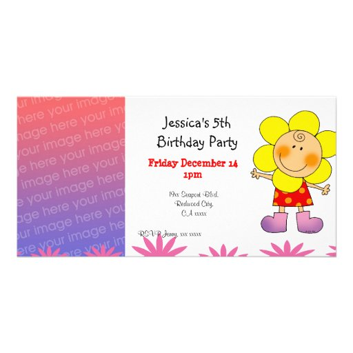 5th birthday girl party invitations (flower girl) personalized photo card