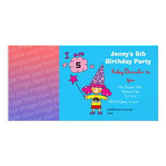5th birthday girl party invitations (wizard) photo card template