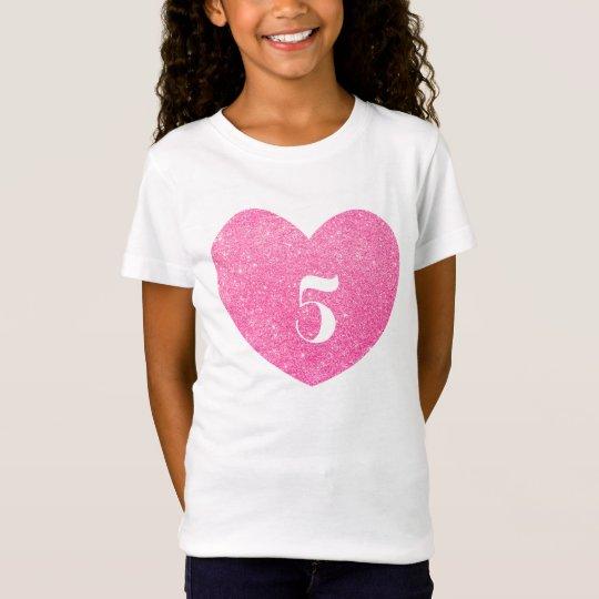 5th Birthday Glitter Pink heart Personalised T-Shirt