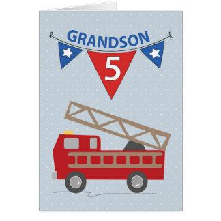 5th Birthday Grandson, Firetruck Card