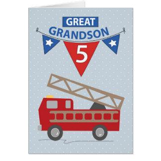 5th Birthday Great Grandson, Firetruck Card