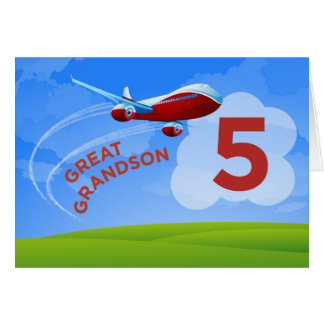 5th Birthday, Great Grandson, Red Airplane Card