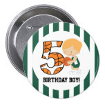 5th Birthday Green and White Basketball Player v2 Pinback Button