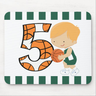 5th Birthday Green and White Basketball Player v2 Mouse Pad