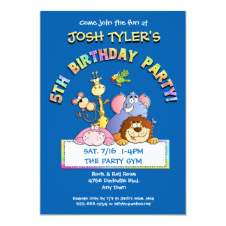 5th Birthday Party Add a Photo Animal Invitations