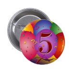 5th Birthday Party Balloon decorations Pinback Buttons