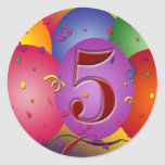 5th Birthday Party Balloon decorations Round Stickers