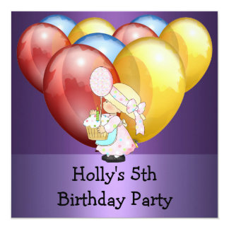 5th Birthday Party Balloons Purple Blue Yellow 5.25x5.25 Square Paper Invitation Card