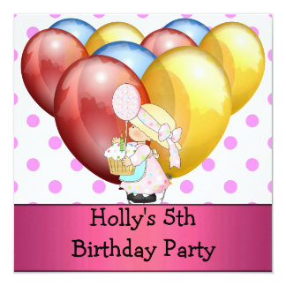 """5th Birthday Party Balloons Red Blue Yellow Pink 5.25"""" Square Invitation Card"""