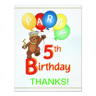 5th Birthday Party Bear Thank You 4.25x5.5 Paper Invitation Card