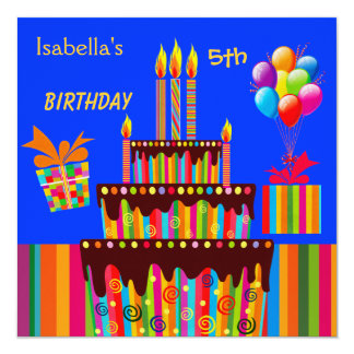 """5th Birthday Party Blue Yellow Striped Candy Pink 5.25"""" Square Invitation Card"""