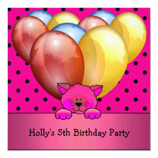 """5th Birthday Party Cat Balloons Blue Yellow Pink 5.25"""" Square Invitation Card"""