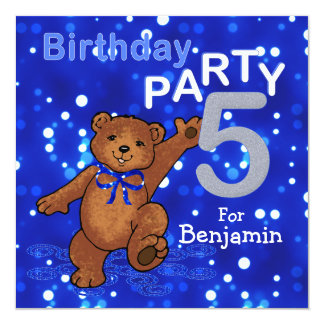 5th Birthday Party Dancing Teddy Bear 5.25x5.25 Square Paper Invitation Card