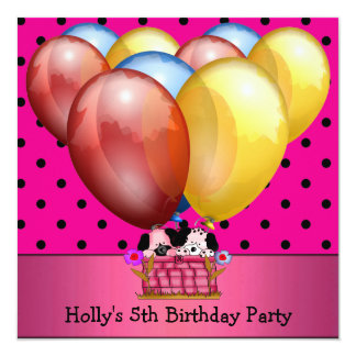 """5th Birthday Party Dogs Balloons Blue Yellow Pink 5.25"""" Square Invitation Card"""