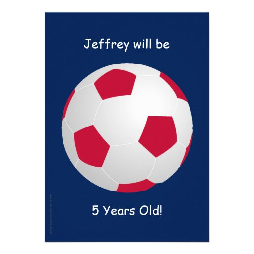 5th Birthday Party Invitation Soccer Ball Card