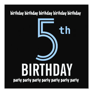 5th Birthday Party Invitation Template Blue Black