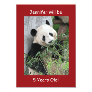 5th Birthday Party Invitation Two Sided Panda Red
