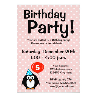 "5th Birthday party invitations with funny penguin 5"" X 7"" Invitation Card"
