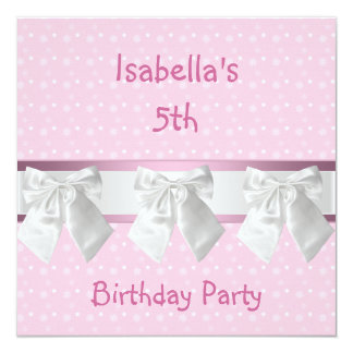 """5th Birthday Party Pink White Spots & Bows 5.25"""" Square Invitation Card"""