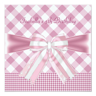 5th Birthday Party Pretty Pink Bow Gingham Check 5.25x5.25 Square Paper Invitation Card