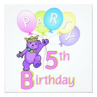 5th Birthday Party Princess Bear Balloons 13 Cm X 13 Cm Square Invitation Card