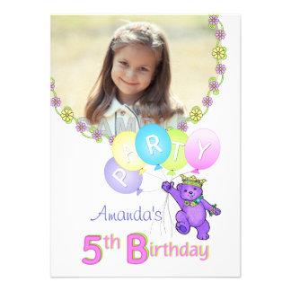 5th Birthday Party Princess Bear Custom Photo Custom Invitation