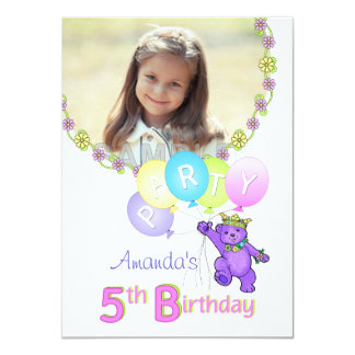 "5th Birthday Party Princess Bear Custom Photo 4.5"" X 6.25"" Invitation Card"