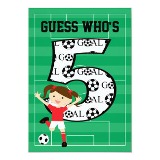5th Birthday Party Red and White Soccer Girl 13 Cm X 18 Cm Invitation Card