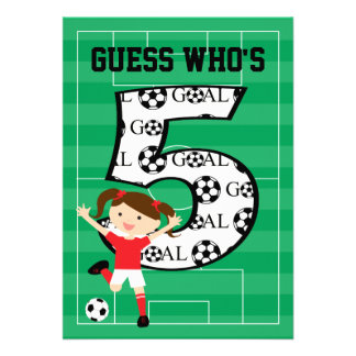5th Birthday Party Red and White Soccer Girl Personalized Announcement