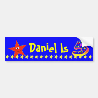 5th Birthday Party Red Smiley Star Decoration Bumper Sticker