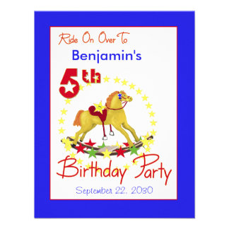 5th Birthday Party Rocking Horse Personalized Announcements